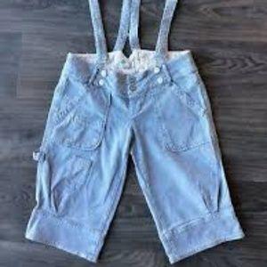 Diesel Pinstripe Suspender Shorts SZ 25